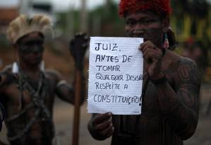 É a segunda ação indígena, só este mês, que tem por finalidade obrigar o Consórcio Construtor Belo Monte a paralisar os trabalhos no Sítio Belo Monte Foto: Divulgação