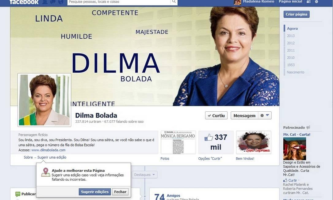 Perfil de Dilma Bolada no Facebook Foto: Reprodução internet