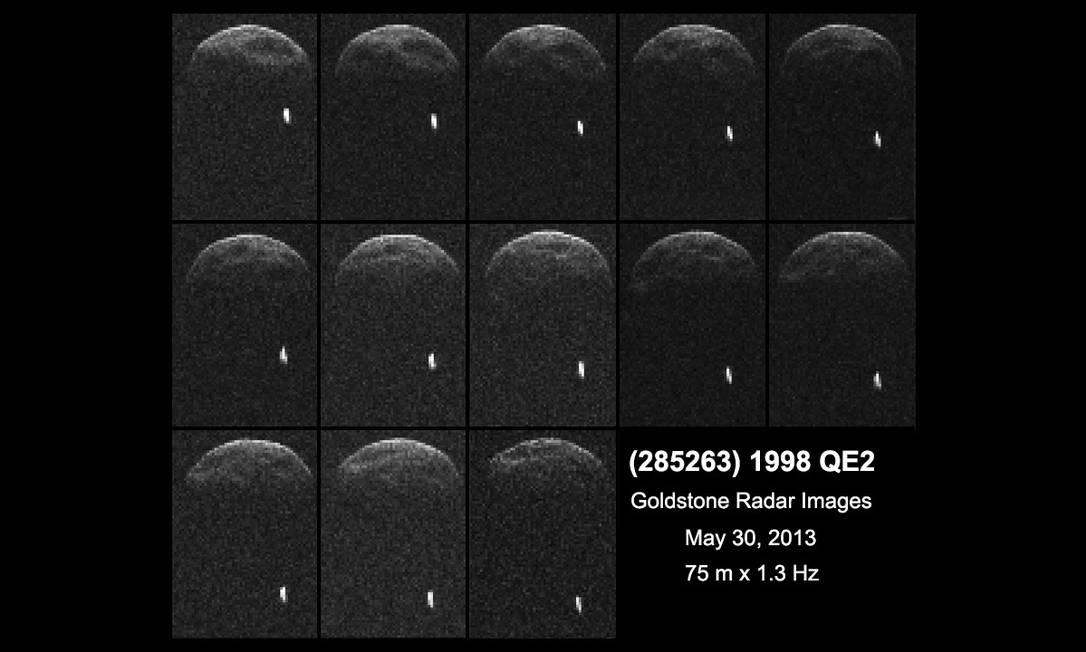 Primeiras imagens de radar do asteroide 1998 QE2 obtidas quando o asteroide estava a seis milhões de quilômetros da Terra Foto: Nasa