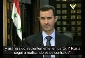 Bashar al-Assad em entrevista à TV al-Manar Foto: YouTube