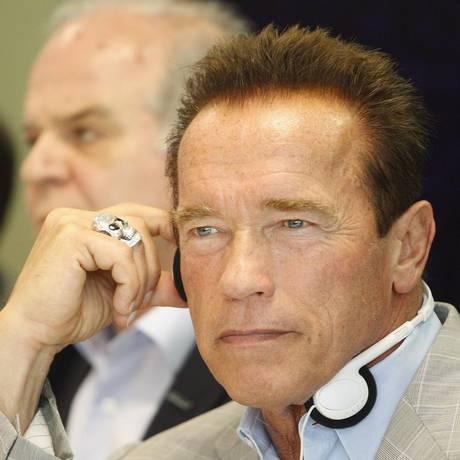Arnold Schwarzenegger durante visita ao Rio em abril. Ator anunciou sequências para três de seus filmes Foto: Márcio Alves / Agência O Globo