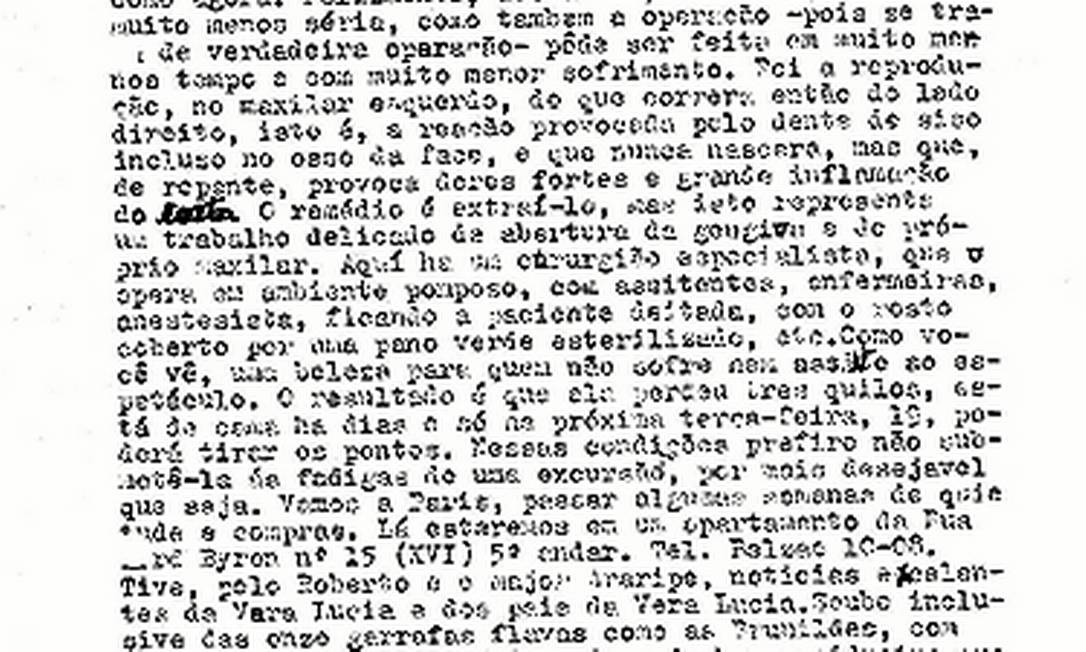 Em carta a Mário Calábria, em 1962, Afonso Arinos de Melo Franco descreve problema dentário da mulher Foto: Reprodução / Reprodução