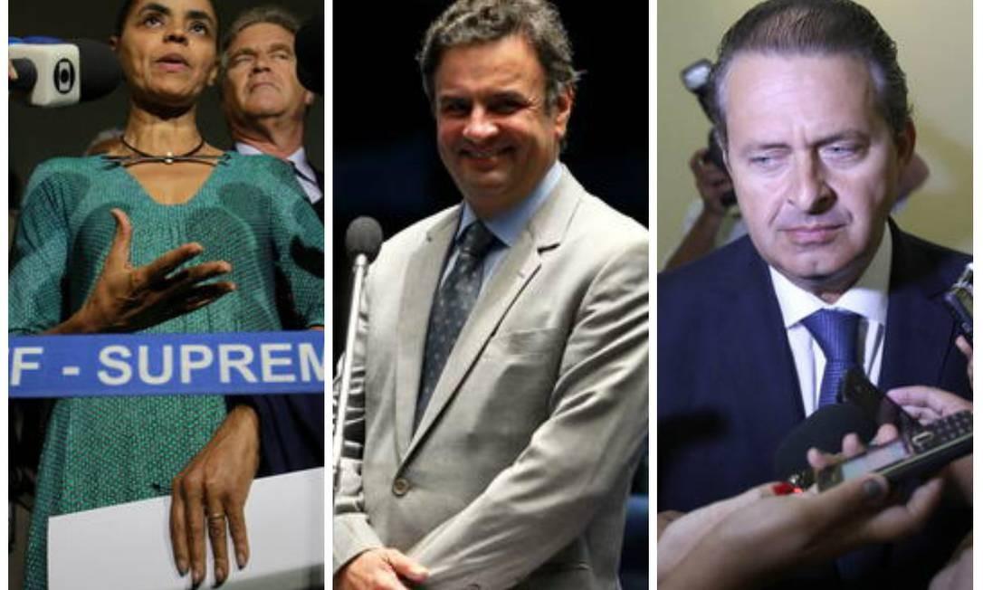 Marina Silva, Aécio Neves e Eduardo Campos, possíveis candidatos à Presidência em 2014 Foto: O Globo / Montagem