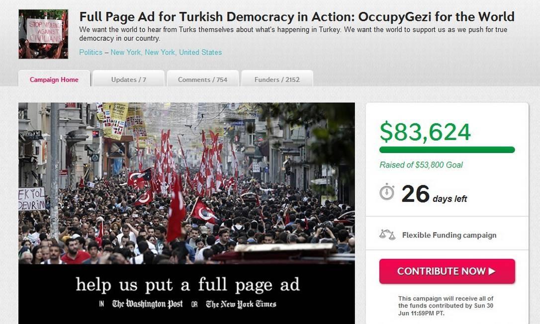 Página de manifestantes turcos: campanha para comprar página no 'New York Times' Foto: Reprodução da internet