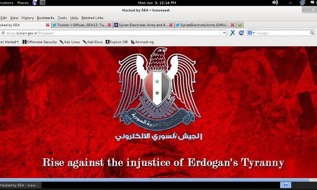 Captura da tela do site do ministério do Interior, invadido pelo grupo sírio, que também participou da ofensiva Foto: Reprodução