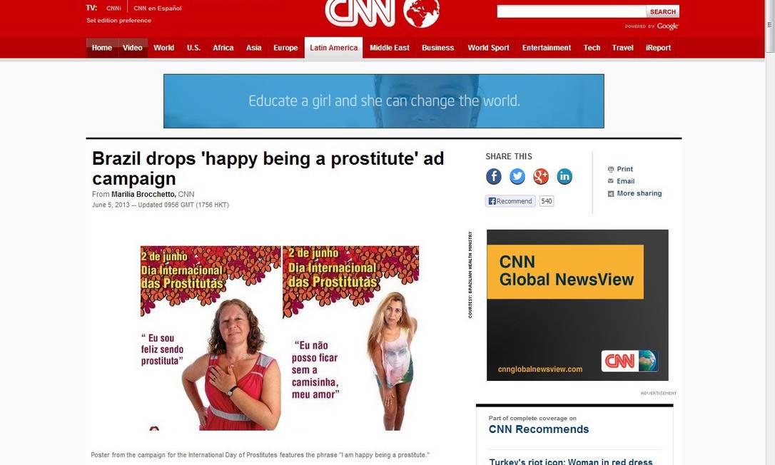 Site da CNN noticiou a retirada do ar da campanha do Ministério da Saúde para prostitutas Foto: Terceiro / Reprodução internet