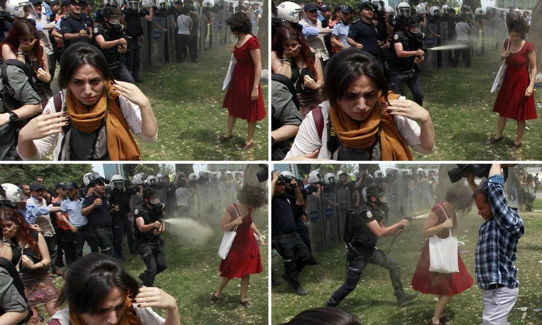 Combinação de fotos mostra uma manifestante sendo atacada com jato de gás lacrimogêneo Foto: OSMAN ORSAL / REUTERS