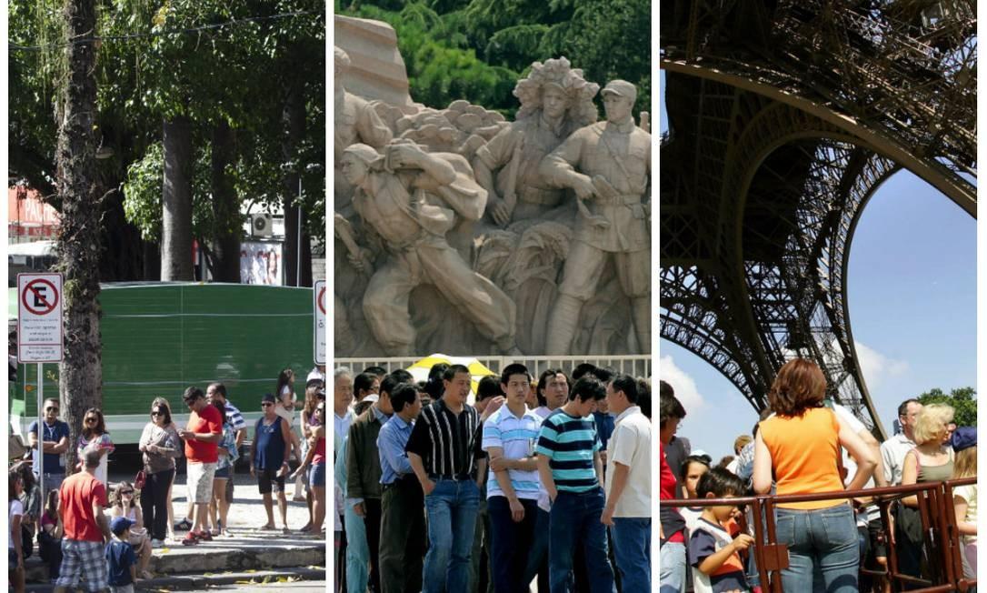 Turistas lotam o Largo do Machado à espera de transporte para o Cristo; o mausoléu de Mao Tsé-Tung costuma ter filas de cerca de 1km; na Torre Eiffel: espera para comprar ingressos e para pegar os elevadores do monumento Foto: O Globo/Bloomberg/AFP