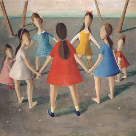 """Um dos 12 núcleos temáticos da mostra, a infância aparece retratada em telas como """"Roda"""" (1942), de Milton Dacosta Foto: Divulgação"""