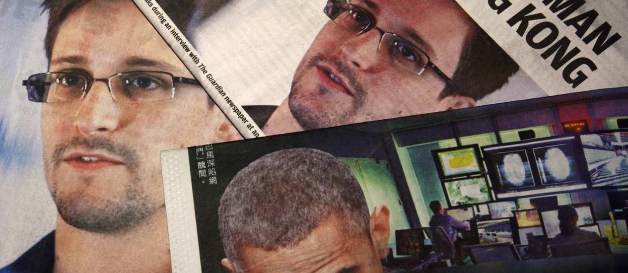 Jornais estampam a foto de Edward Snowden e do presidente Barack Obama Foto: BOBBY YIP / REUTERS