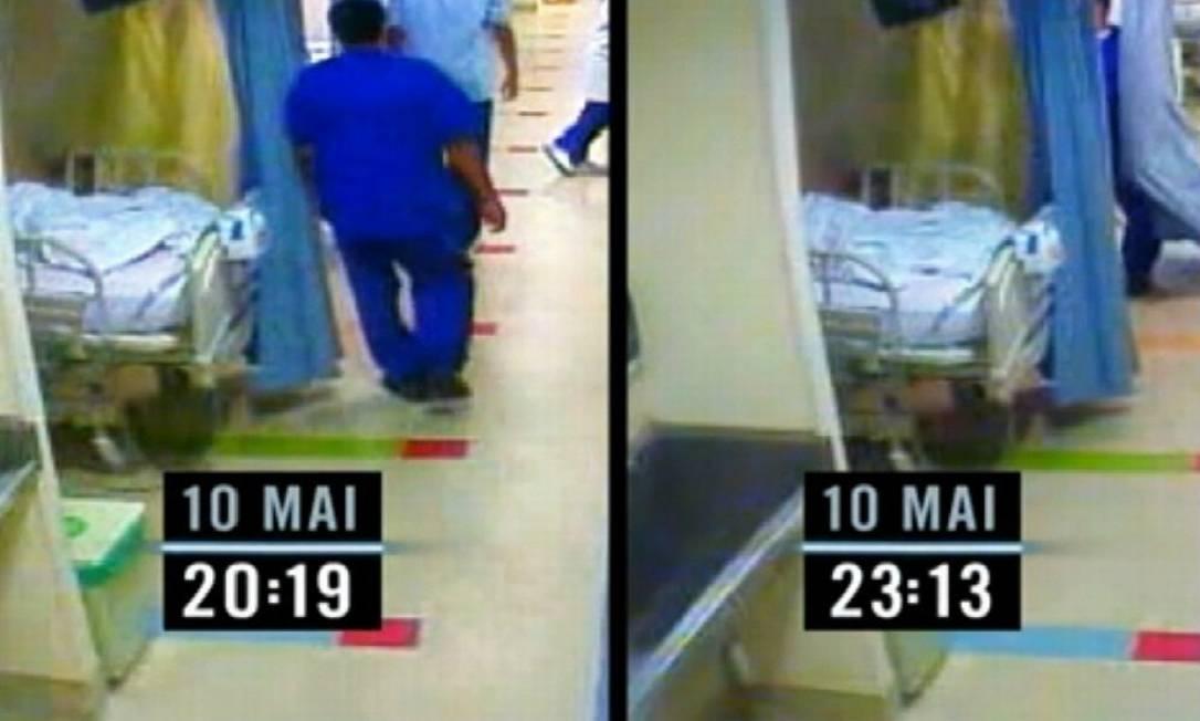 Imagens mostram que enfermeiro passou mais tempo do que o normal com a vítima Foto: Reprodução de TV