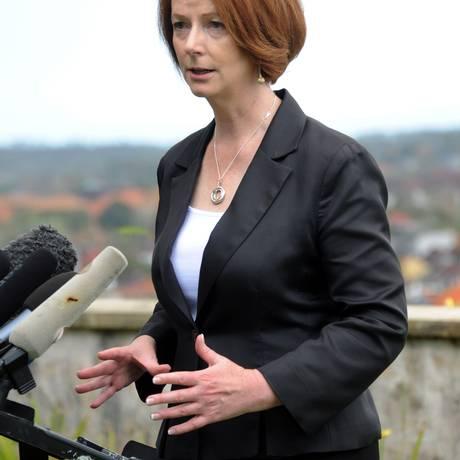 A premier australiana, Julia Gillard, em um discurso em Bali, na Indonésia, em outubro do ano passado Foto: SONNY TUMBELAKA / AFP