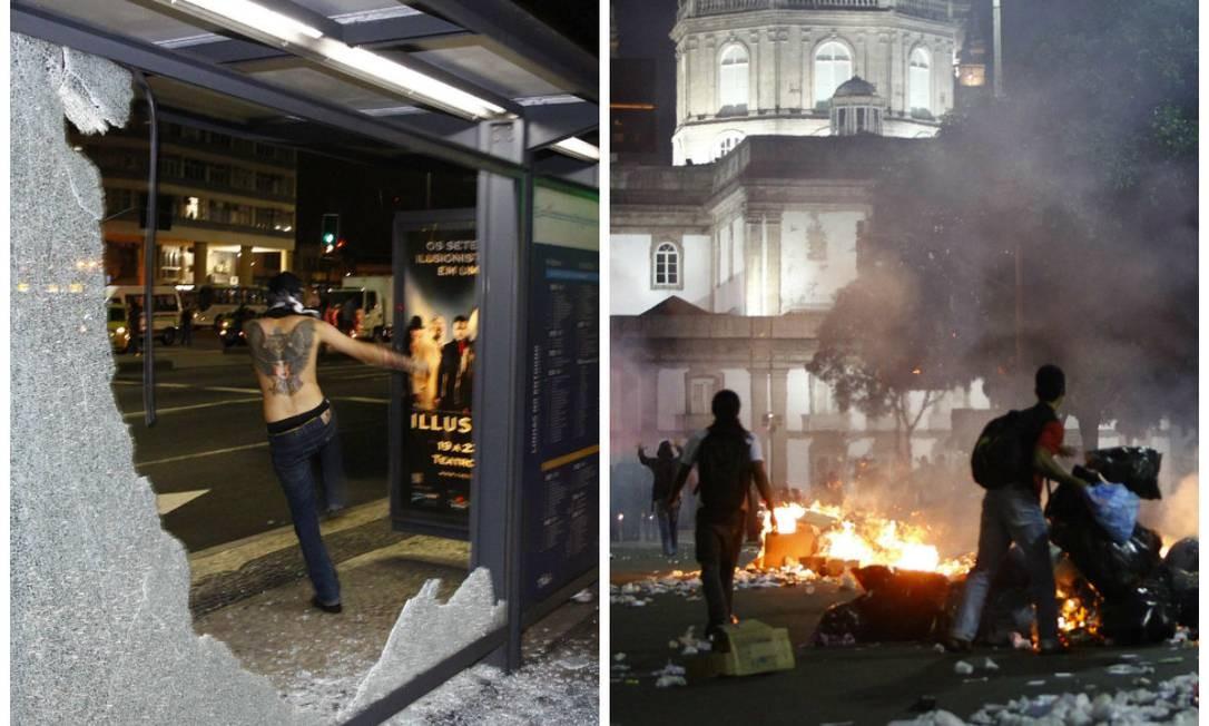 Jovem quebra vidros de pontos de ônibus, e outros colocam fogo em montes de lixo em protesto no Centro contra aumento das passagens de ônibus Foto: Pablo Jacob / O Globo