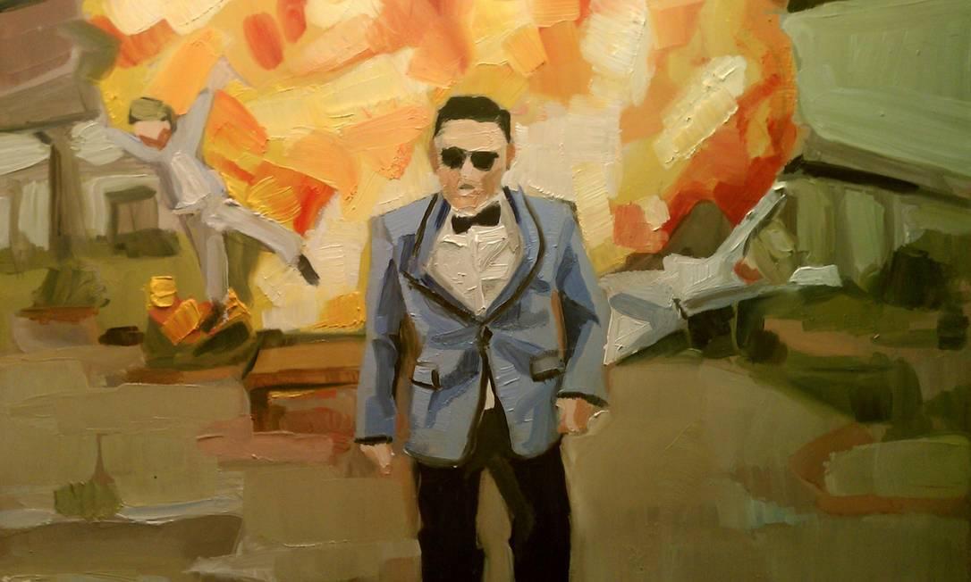 Cena do famoso clipe do coreano Psy em versão artística Foto: Reprodução da Internet