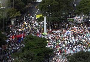 Manifestantes se concentram na Praça Sete, em Belo Horizonte Foto: Reprodução TV