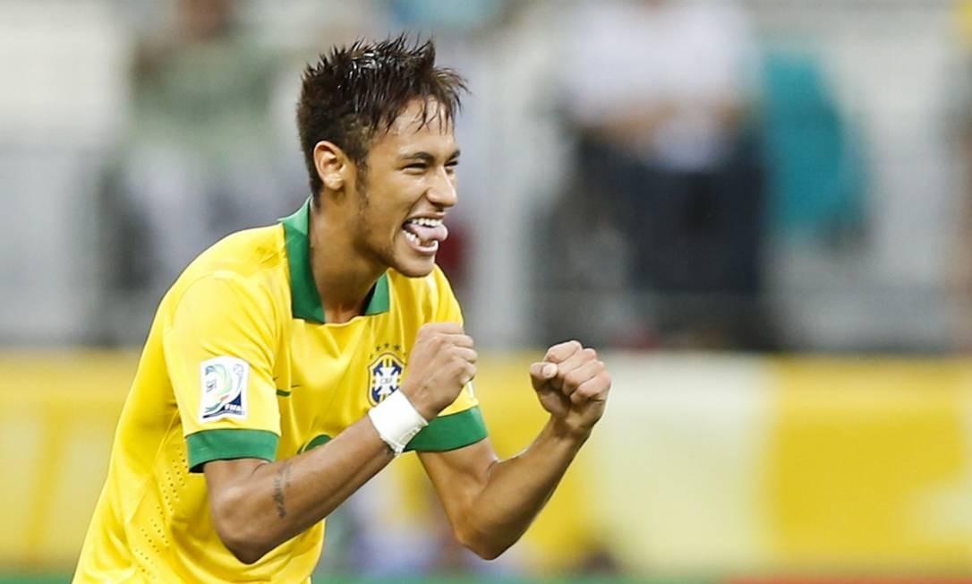 Neymar faz careta para festejar seu contra a Itália, o terceiro dele em três jogos na Copa das Confederações Foto: Guito Moreto / Agência O Globo