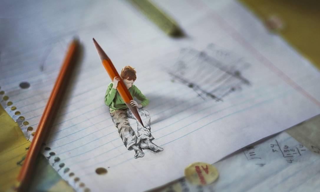 """Zev Hoover, de 14 anos, cria imagens surreais em seu projeto de fotografia """"Little folk"""" Foto: Reprodução de internet / Fiddle Oak"""