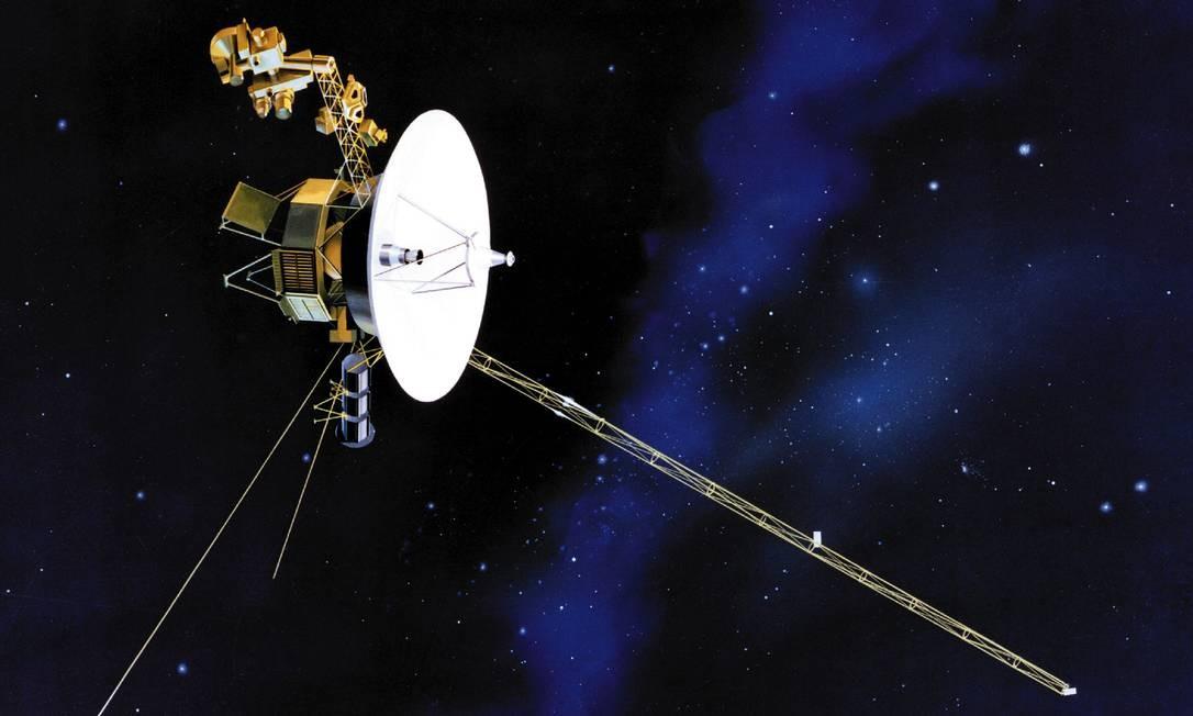 Ilustração da Nasa mostra a Voyager no espaço: sonda está no que os cientistas acreditam ser a última região da heliosfera, a zona de influência do Sol, antes do espaço interestelar Foto: Nasa