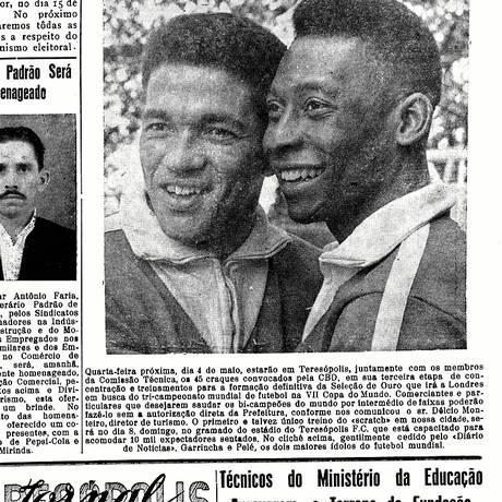 Acervo. Jornal da cidade, de 1966, traz matéria com Pelé e Garrincha<252> Foto: Divulgação/Acervo de Leo Bittencourt e Regina Carmela