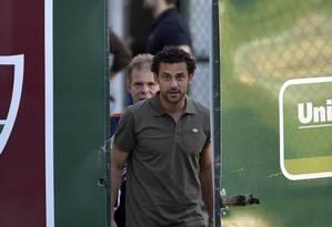 Fred chega às Laranjeiras para treinar. Abel confirmou atacante no Clássico Vovô Foto: Moyses Ferman / PHOTOCAMERA