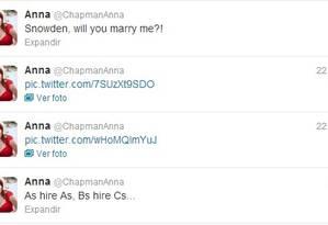 O Twitter de @chapmananna, com a proposta de casamento a Snowden