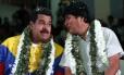 Evo Morales e Nicolás Maduro em Cochabamba, na Bolívia
