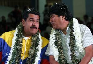 Evo Morales e Nicolás Maduro em Cochabamba, na Bolívia Foto: Juan Karita / AP