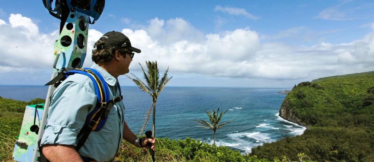 O projeto de Rob Pacheco é levar imagens do Havaí para o Google Street View Foto: AP