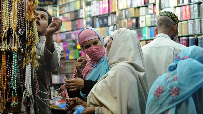 Véu da vitória: conquista no primeiro dia de Ramadã Foto: Fayez Nureldine (AFP)