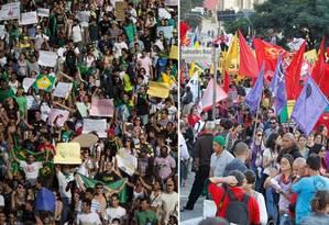 Sem e com partido: bandeiras e carro de som marcam diferença entre os protestos de junho e os de hoje Foto: AP e Eliária Andrade (O GLOBO)