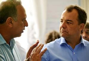 O governador Sérgio Cabral (à direita) e o vice-governador Luiz Fernando Pezão Foto: Marino Azevedo / Agência O Globo