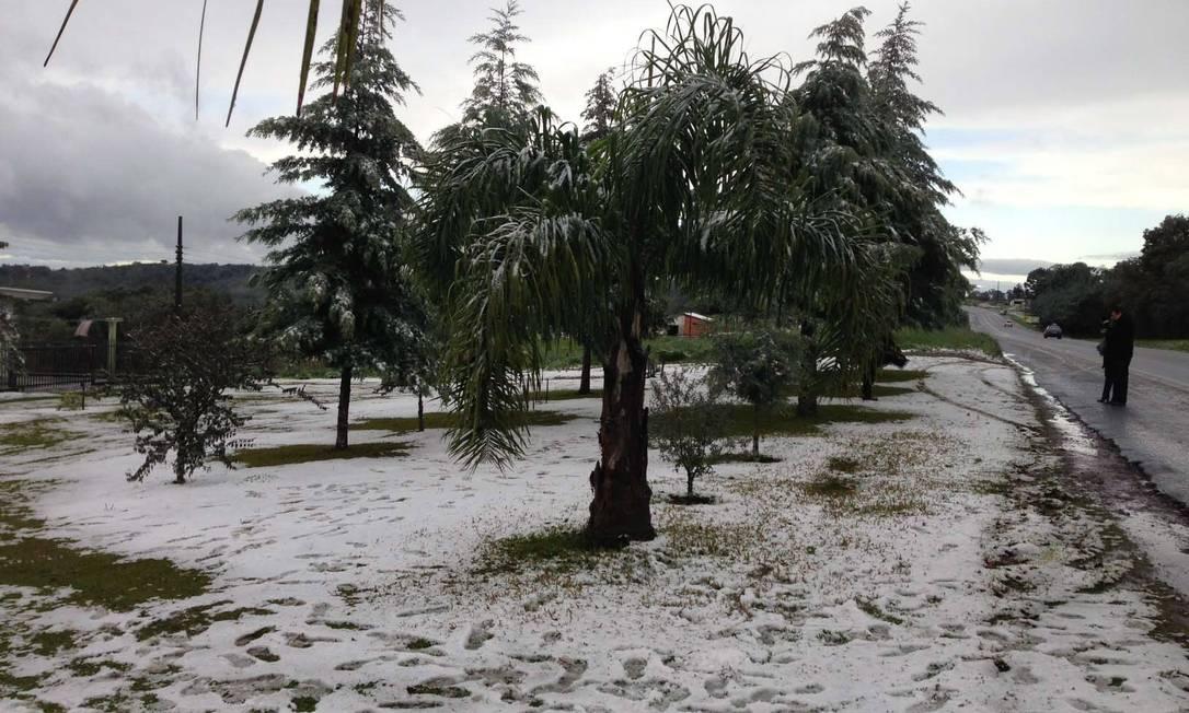 Registro de neve também em São Bento do Sul, Santa Catarina Agência RBS / Rodrigo Philipps