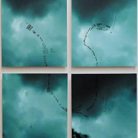 """""""Gota"""", série de quatro fotografias que mostra uma gota escorrendo pela janela Foto: Divulgação"""
