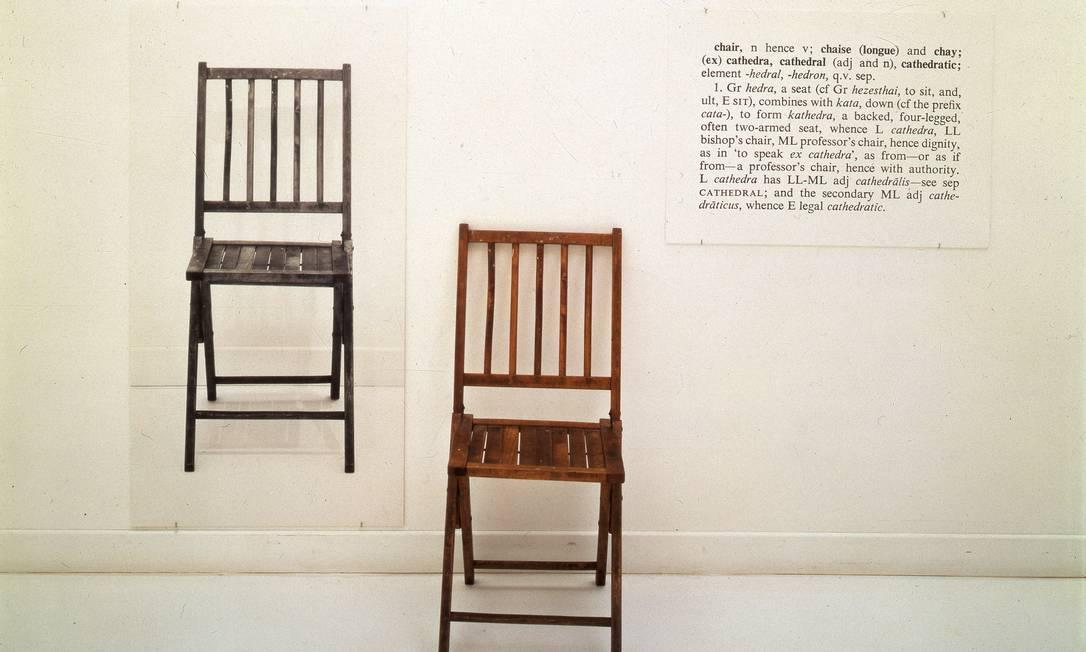 'One and Three Chairs' (1965), obra de Joseph Kosuth, que pertence ao MoMA, de Nova York. Foto Divulgação / MoMA New York Foto: MoMa NY / Divulgação