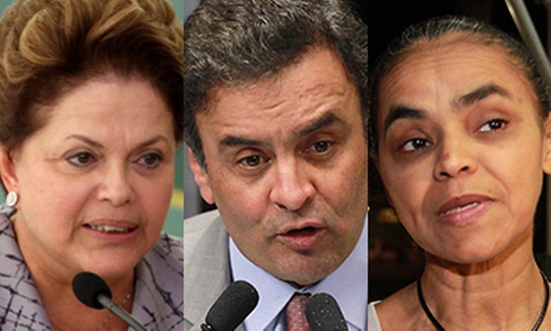 Presidenciáveis Dilma Rousseff, Aécio Neves, Marina Silva e Eduardo Campos Foto: Reprodução