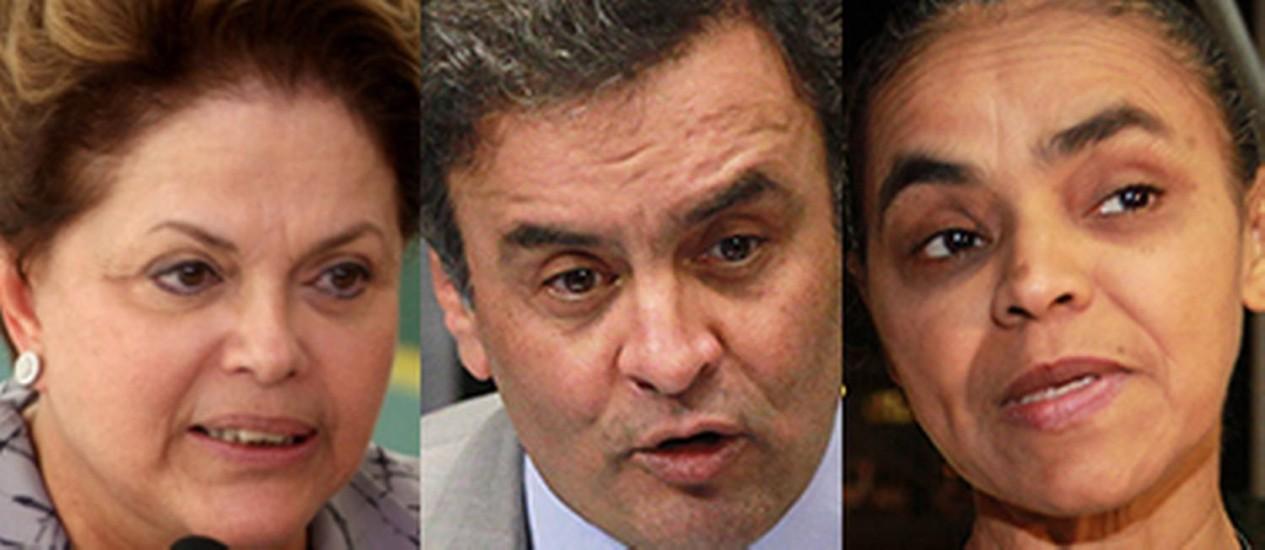 Dilma Rousseff, Aécio Neves, Marina Silva e Eduardo Campos Foto: Reprodução