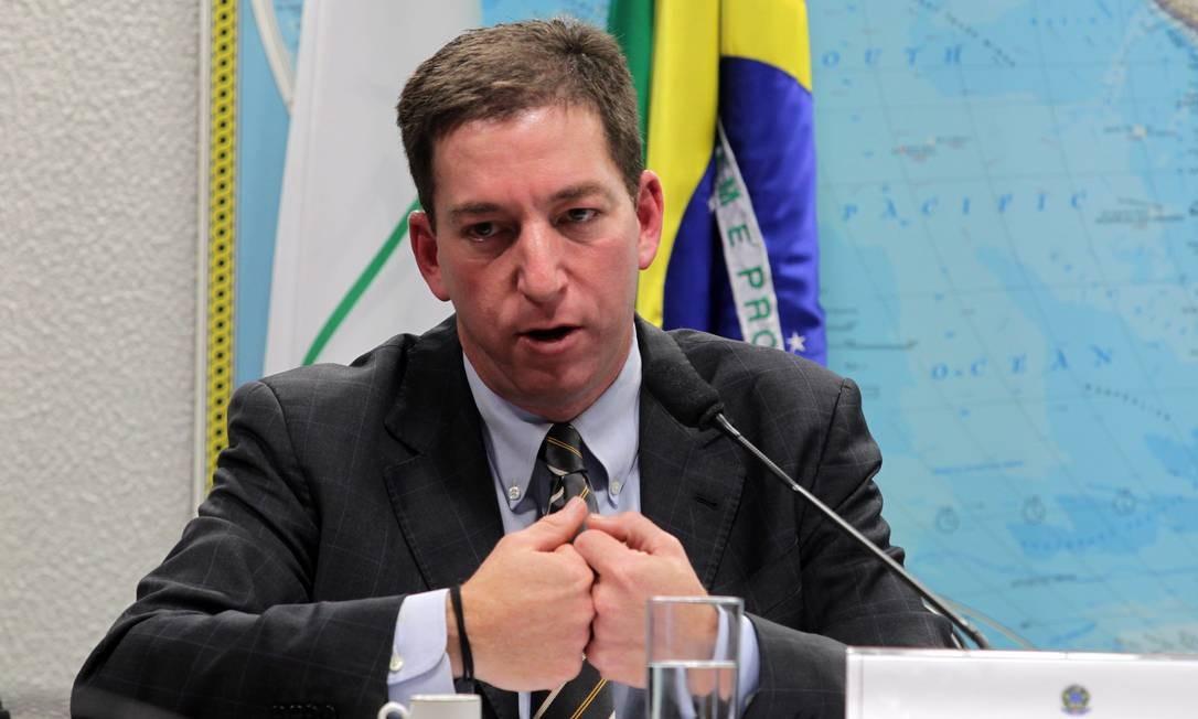 O jornalista Glenn Greenwald, durante depoimento na Comissão de Relações Exteriores do Senado Foto: Ailton de Freitas