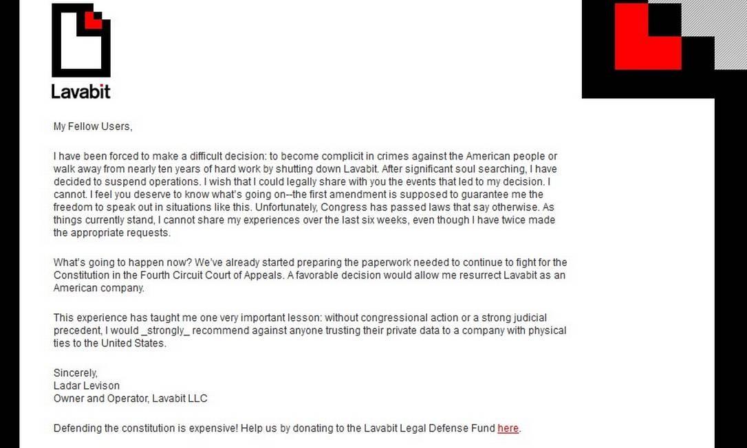 Comunicado divulgado na página principal do Lavabit Foto: Internet