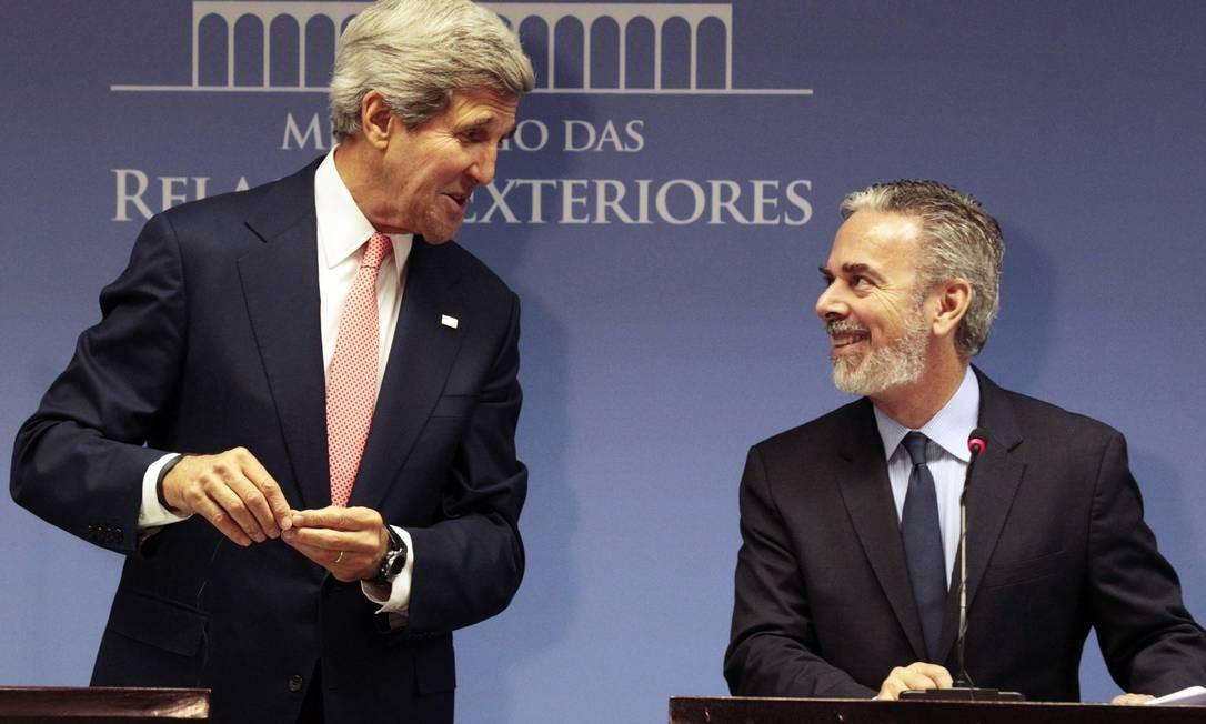 Kerry e Patriota em Brasília: espionagem na pauta da reunião Foto: Jorge William / Jorge William/Agência O Globo