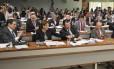 Senadora Angela Portella (PT-RR) cumprimenta o relator do texto, Eduardo Braga (PMDB-AM), aplaudido pelos colegas quando texto foi aprovado