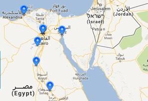 Mapa interativo dos conflitos no Egito Foto: Arte O Globo