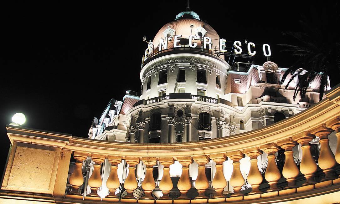 O luxuoso Hôtel Negresco é um ícone de Nice. Bruno Agostini / O Globo