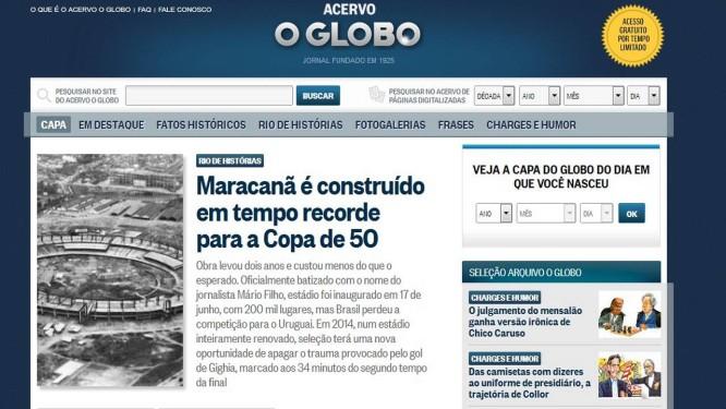 Reprodução da capa do site do Acervo Foto: Reprodução