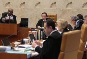 O plenário do Supremo na sessão de quinta-feira passada, a segunda de análise dos recursos do mensalão Foto: André Coelho / O Globo