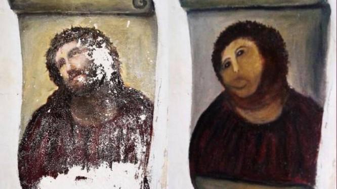 A obra original e a restauração feita por Cecilia Gimenez Foto: AP