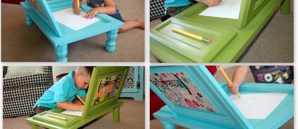 Escrivaninha feita a partir de portas de armários de cozinha para as crianças Foto: icandyhandmade