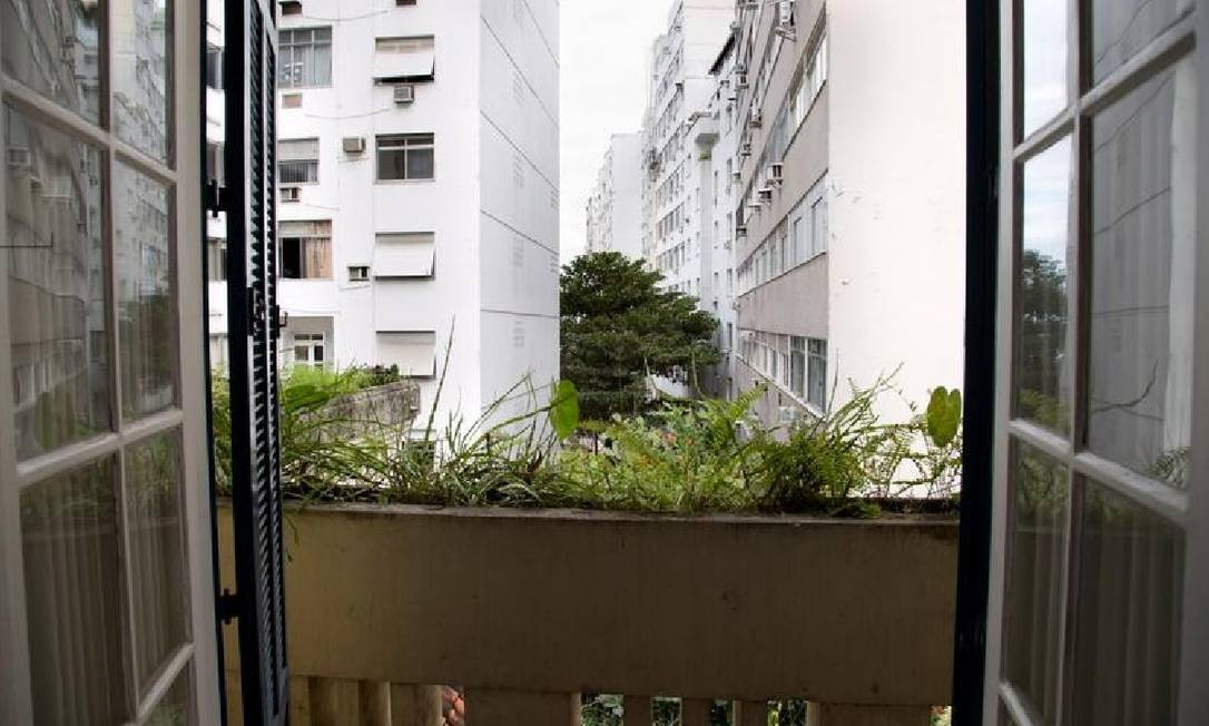 Vista de dentro da casa mostra crescimento imobiliário na região. Antes, era possível ver o mar deste ângulo Foto: Simone Marinho/Agência O Globo