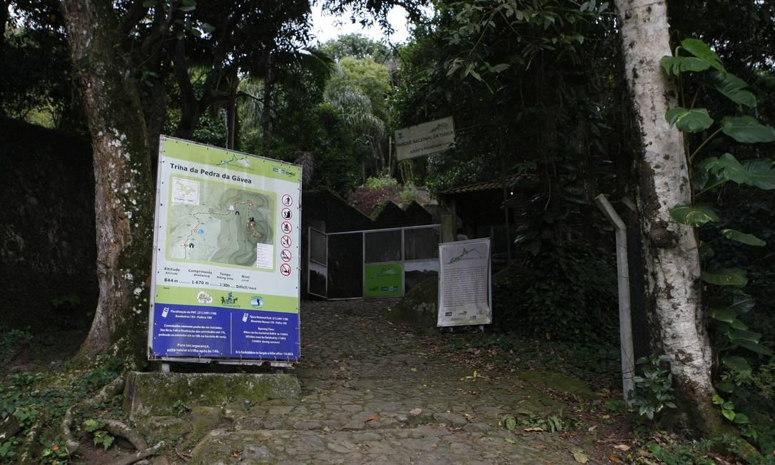 A entrada da Trilha da Pedra da Gávea Foto: Eduardo Naddar / Agência O Globo