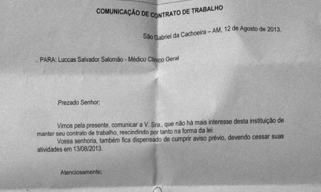Comunicado enviado a Luccas Salomão, médico dispensado pela prefeitura de São Gabriel da Cachoeira (AM) Foto: Reprodução