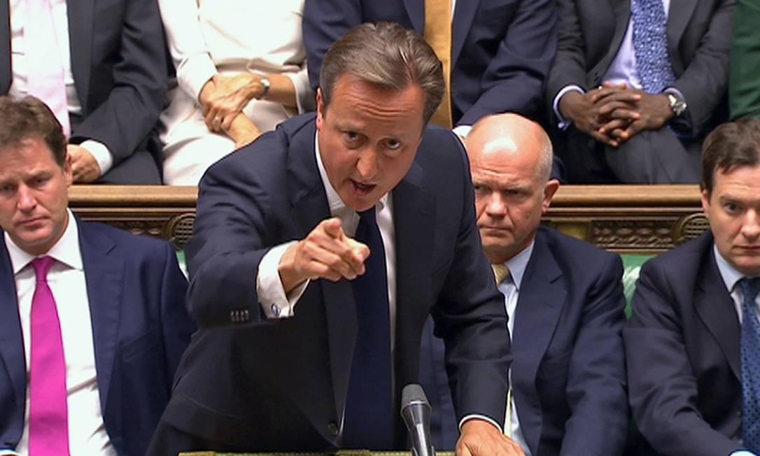 Primeiro-ministro britânico, David Cameron, na Câmara dos Comuns, em Londres Foto: POOL / Reuters